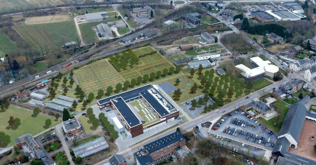 Vue aérienne de la plateforme WASABI, plateforme de recherche et démonstration en agriculture urbaine unique en Europe
